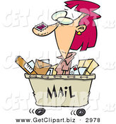 Clip Art of a Crazy Woman in a Mail Cart, Stamped with Postage by Toonaday