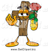 Clip Art of a Cross Character Holding a Red Rose on Valentines Day by Toons4Biz