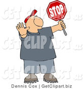 Clip Art of a Cross Guard Man Holding up His Hand and a Stop Sign so Pedestrians Can Cross the Street by Djart