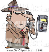Clip Art of a Cucasian Undercover Private Eye Detective Talking Secretively on a Telephone by Toonaday
