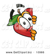 Clip Art of a Curious and Happy Red Apple Character Mascot Peeking Around a Corner and Spying on Someone by Toons4Biz