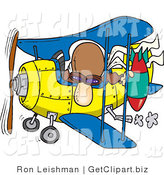 Clip Art of a Curious Bomber Man in a Biplane Preparing to Drop a Bomb by Toonaday