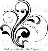 Clip Art of a Curling and Sparkling Black Floral Design Element Growing up by OnFocusMedia