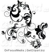 Clip Art of a Curling Black Design Element of Leaves and Vines by OnFocusMedia