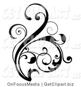 Clip Art of a Curling Floral Design Element Scroll in Black Growing up by OnFocusMedia