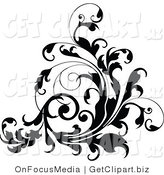 Clip Art of a Curling Thick Black Vine Flourish Flowing up by OnFocusMedia
