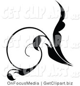 Clip Art of a Curly Black Scrolling Silhouetted Leaf Flourish Design Element by OnFocusMedia