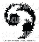Clip Art of a Curly Black Silhouetted Leafy Scroll Design Outlined in White Growing up and Left by OnFocusMedia
