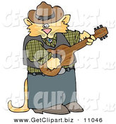 Clip Art of a Cute Anthropomorphic Cowboy Cat Playing Country Music on an Acoustic Guitar on White by Djart