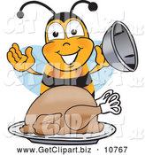 Clip Art of a Cute Bee Mascot Cartoon Character Holding the Lid to a Platter with a Thanksgiving Turkey on It by Toons4Biz