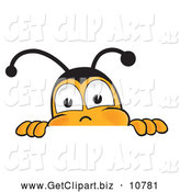 Clip Art of a Cute Bee Mascot Cartoon Character Peeking over a Horizontal Surface by Toons4Biz