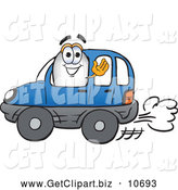 October 22nd, 2013: Clip Art of a Cute Blimp Mascot Cartoon Character Driving a Blue Car and Waving by Toons4Biz