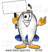 Clip Art of a Cute Blimp Mascot Cartoon Character Holding a Blank White Sign by Toons4Biz