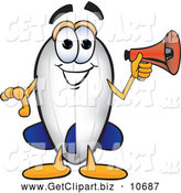 Clip Art of a Cute Blimp Mascot Cartoon Character Holding a Megaphone by Toons4Biz
