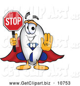Clip Art of a Cute Blimp Mascot Cartoon Character Holding a Stop Sign with His Arm out in Front by Toons4Biz
