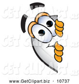 Clip Art of a Cute Blimp Mascot Cartoon Character Peeking Around a Corner by Toons4Biz