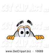Clip Art of a Cute Blimp Mascot Cartoon Character Scared and Peeking over a Surface by Toons4Biz