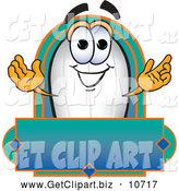 Clip Art of a Cute Blimp Mascot Cartoon Character with a Blank Label by Toons4Biz