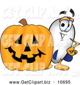 October 21st, 2013: Clip Art of a Cute Blimp Mascot Cartoon Character with a Carved Halloween Pumpkin by Toons4Biz