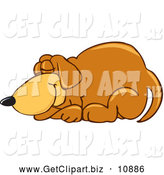 Clip Art of a Cute Brown Dog Mascot Cartoon Character Curled up and Sleeping by Toons4Biz