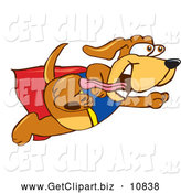 Clip Art of a Cute Brown Dog Mascot Cartoon Character Dressed As a Super Hero, Flying by Toons4Biz