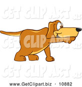 Clip Art of a Cute Brown Dog Mascot Cartoon Character Pointing While Sniffing Something out by Toons4Biz