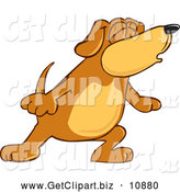Clip Art of a Cute Brown Dog Mascot Cartoon Character with Closed Eyes, Singing or Howling by Toons4Biz