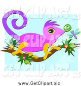 Clip Art of a Cute Chameleon Lizard on a Floral Branch over Blue by