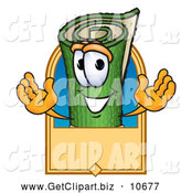 October 28th, 2013: Clip Art of a Cute Green Carpet Mascot Cartoon Character with a Blank Tan Label by Toons4Biz