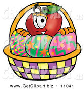 Clip Art of a Cute Red Apple Character Mascot in an Easter Basket Full of Decorated Easter Eggs by Toons4Biz