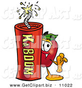 Clip Art of a Cute Red Apple Character Mascot Standing with a Stick of Dynamite Explosives by Toons4Biz