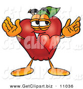 Clip Art of a Cute Red Apple Character Mascot with His Heart Beating out of His Chest and Eyebrows Raised on White by Toons4Biz