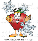 Clip Art of a Cute Red Apple Character Mascot with Icy Snowflakes in Winter by Toons4Biz