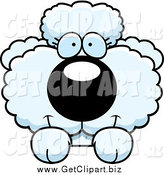 Clip Art of a Cute White Poodle Looking over a Surface by Cory Thoman