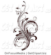Clip Art of a Dark Brown Grunge Textured Curly Vine Scrolling Flourish Design Element by OnFocusMedia