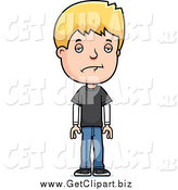 Clip Art of a Depressed Blond White Adolescent Teenage Boy by Cory Thoman
