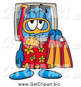 Clip Art of a Desktop Computer with Snorkel Supplies by Toons4Biz