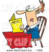 Clip Art of a Determined Caucasian Man Sitting at a Table and Reading a Menu at a Restaurant on White by Toonaday