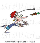 Clip Art of a Dieting Caucasian Woman Exercising and Chasing a Chocolate Covered Carrot on a Stick by Toonaday
