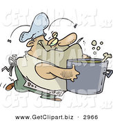 Clip Art of a Dirty Chubby and Stinky Male Chef Carrying a Pot of Soup by Toonaday