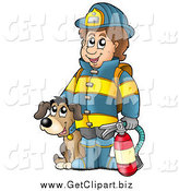 Clip Art of a Dog by a Happy Fireman Holding an Extinguisher by Visekart