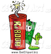 Clip Art of a Dollar Bill Character Standing with a Lit Stick of Dynamite by Toons4Biz