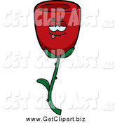Clip Art of a Drunk Red Rose by Cory Thoman