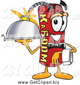 Clip Art of a Dynamite Mascot Waiter Holding a Serving Platter by Toons4Biz