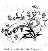 Clip Art of a Elegant Black and White Flourish, Plant Scroll Design Element with Sparkles and Wisp Leaves by OnFocusMedia