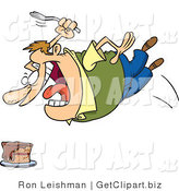 Clip Art of a Fat Caucasian Man Diving Towards a Cake with a Fork, Satisfying a Craving by Toonaday