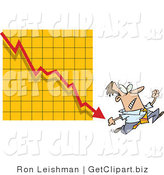 Clip Art of a Fearful Employee Man Running from a Bar on a Declining Graph by Toonaday