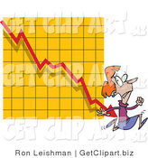 Clip Art of a Featful Woman Running from a Bar on a Declining Graph by Toonaday