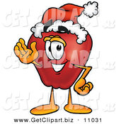 Clip Art of a Festive and Cheerful Red Apple Character Mascot Wearing a Santa Hat and Waving by Toons4Biz