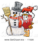 Clip Art of a Festive and Happy Red Apple Character Mascot Leaning on a Snowman on Christmas by Toons4Biz
